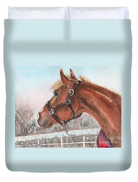 Horse Head Painting In Watercolor Duvet Cover