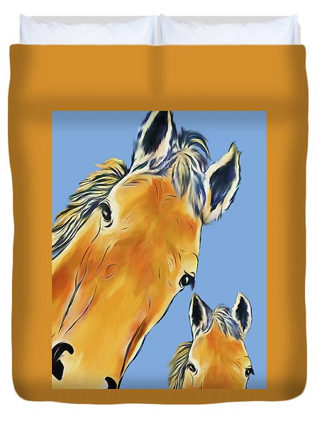 Horse Heads Duvet Cover by Terry Cork