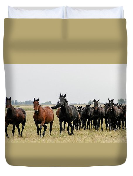 Horse Herd On The Hungarian Puszta Duvet Cover