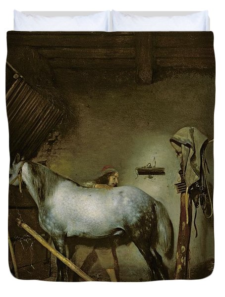 Horse In A Stable Duvet Cover by Gerard Terborch