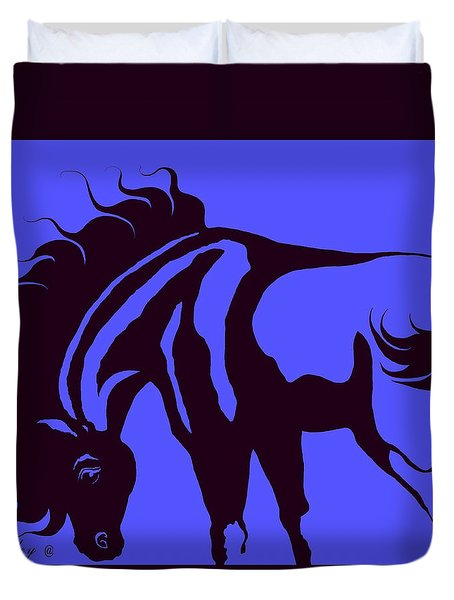 Horse In Blue And Black Duvet Cover by Loxi Sibley