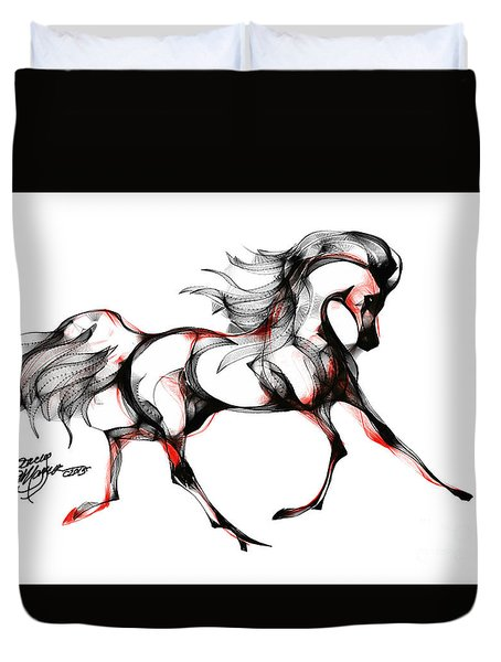 Horse In Extended Trot Duvet Cover by Stacey Mayer