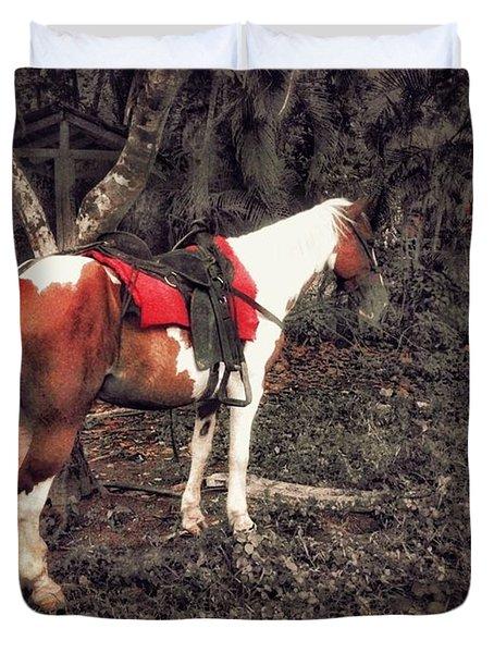 Horse In Red Duvet Cover