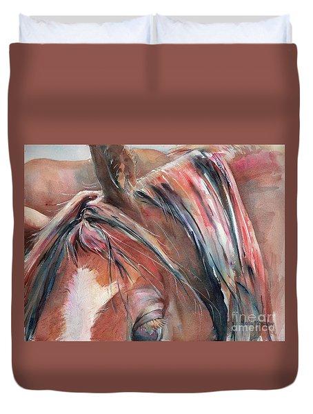 Horse In Watercolor Duvet Cover
