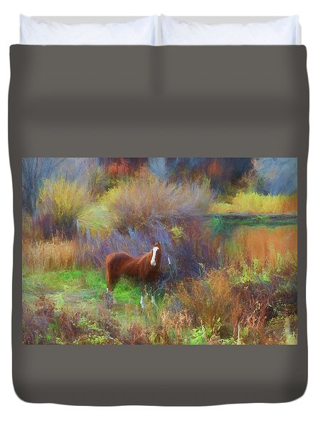 Horse Of Many Colors Duvet Cover