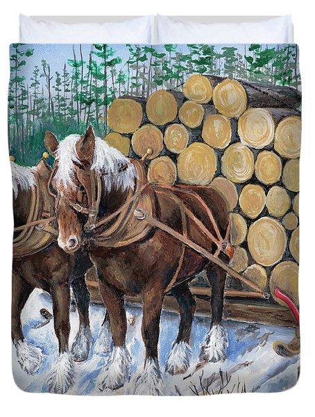 Horse Log Team Duvet Cover