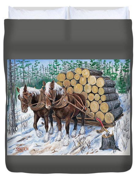 Horse Log Team Duvet Cover