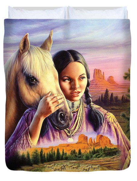 Horse Maiden Duvet Cover by Andrew Farley