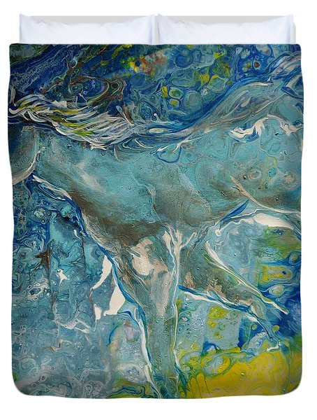 Duvet Cover featuring the painting Horse Of A Different Color by Deborah Nell