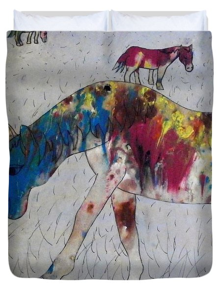Horse Of A Different Color Duvet Cover