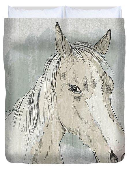 Horse Portrait-farm Animals Duvet Cover