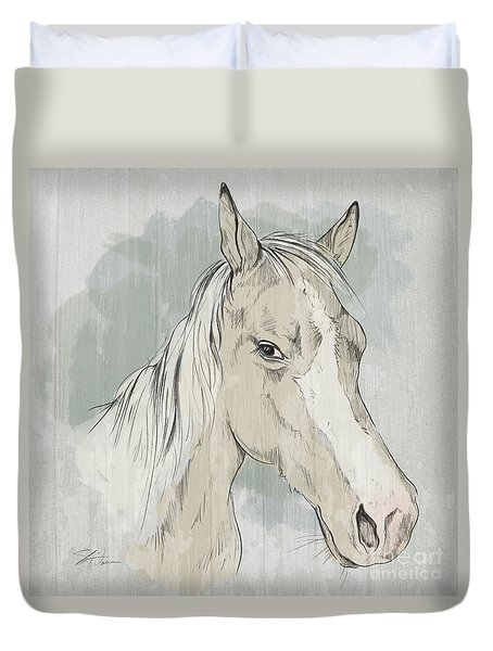 Horse Portrait-farm Animals Duvet Cover