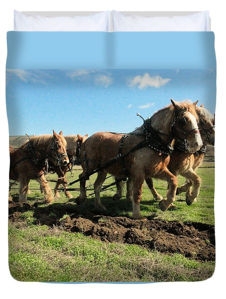 Duvet Cover featuring the photograph Horse Power by Jeff Swan
