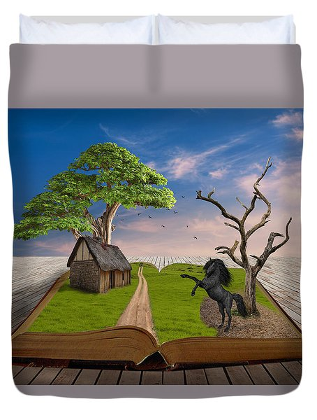 Duvet Cover featuring the mixed media Horse Power by Marvin Blaine