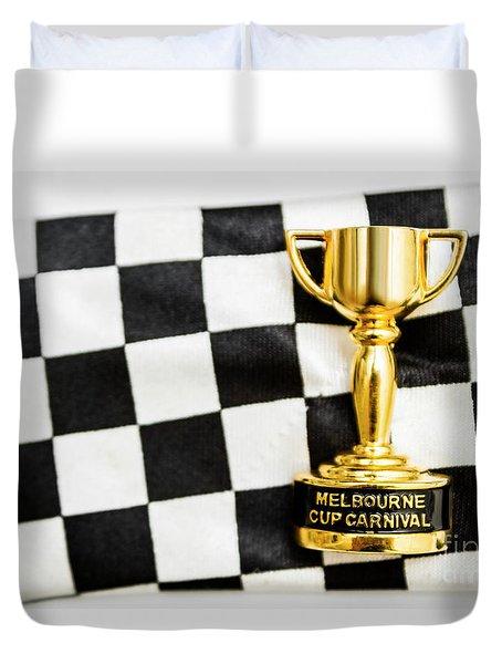 Horse Races Trophy. Melbourne Cup Win Duvet Cover