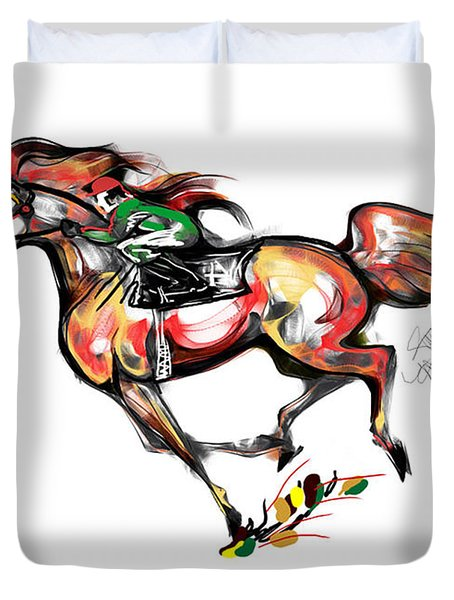 Horse Racing In Fast Colors Duvet Cover