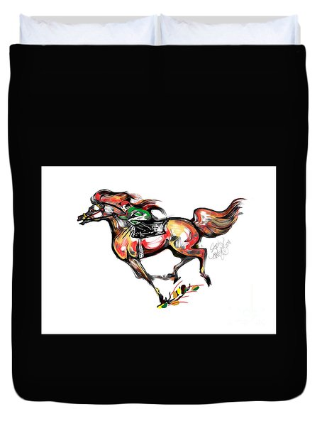 Horse Racing In Fast Colors Duvet Cover by Stacey Mayer