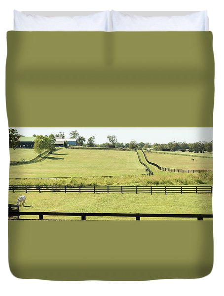 Horse Ranch Pano Duvet Cover by Pamela Williams