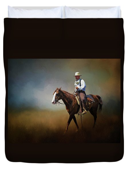 Duvet Cover featuring the photograph Horse Ride At The End Of Day by David and Carol Kelly