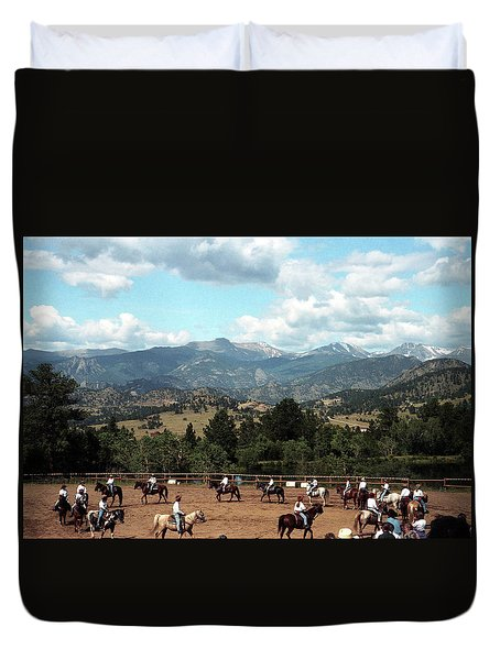 Duvet Cover featuring the photograph Horse Riding In Colorado by Emanuel Tanjala