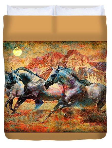 Horse Run Duvet Cover by Greg Sharpe