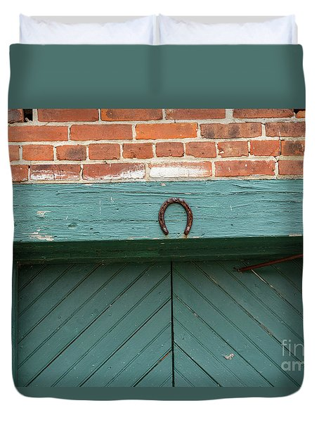 Horse Shoe On Old Door Frame Duvet Cover