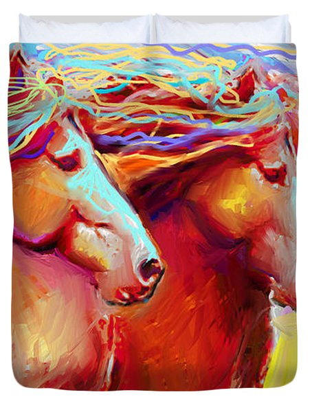 Horse Stampede Painting Duvet Cover