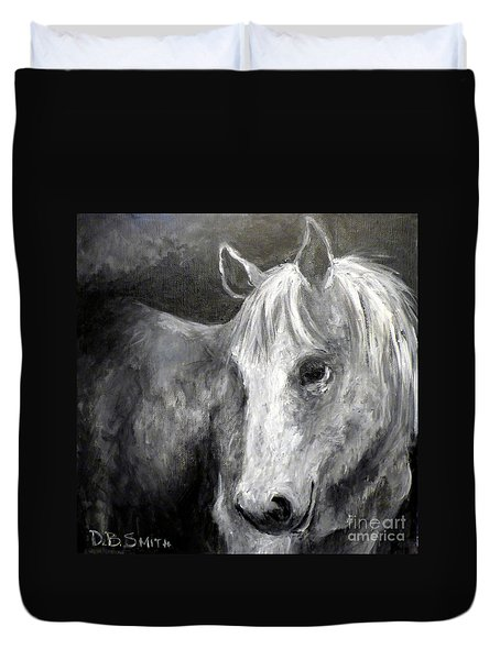 Horse With The Mona Lisa Smile Duvet Cover
