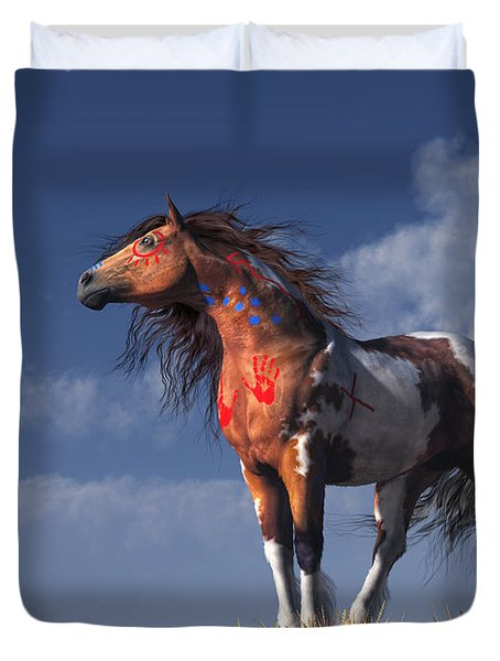 Horse With War Paint Duvet Cover