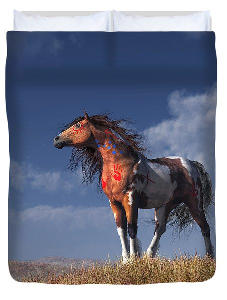 Duvet Cover featuring the digital art Horse With War Paint by Daniel Eskridge