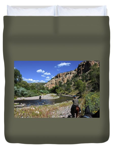 Horseback In The Gila Wilderness Duvet Cover