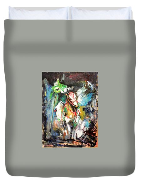 Horse,horseman And The Target Duvet Cover by Khalid Saeed