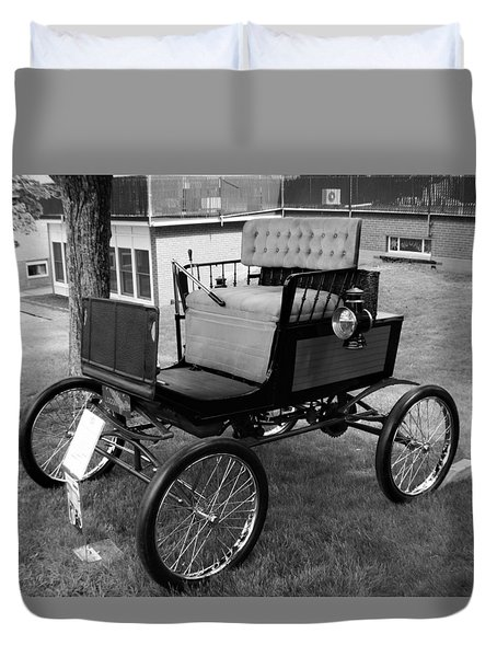Horseless Carriage-bw Duvet Cover