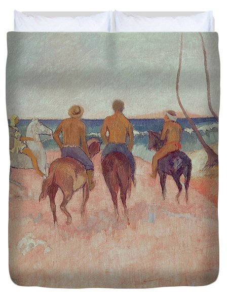 Horseman On The Beach Duvet Cover by Paul Gauguin