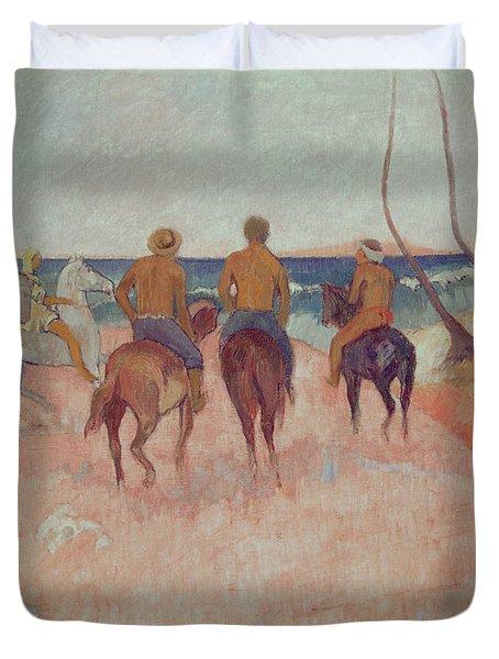 Horseman On The Beach Duvet Cover by Paul Gauguin