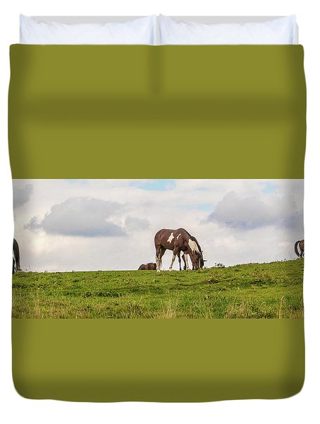 Horses And Clouds Duvet Cover