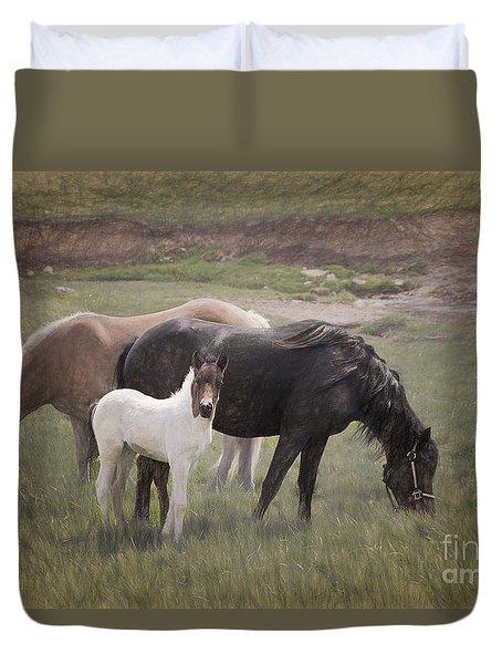 Horses And Colt  Duvet Cover