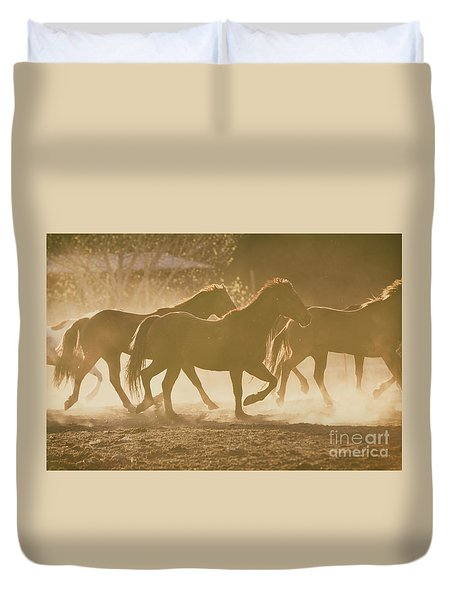Duvet Cover featuring the photograph Horses And Dust by Ana V Ramirez
