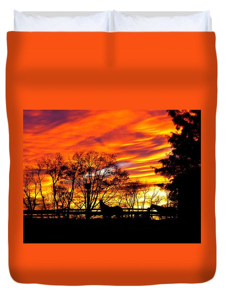 Horses And The Sky Duvet Cover by Donald C Morgan