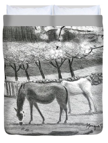 Duvet Cover featuring the drawing Horses And Trees In Bloom by Monique Faella