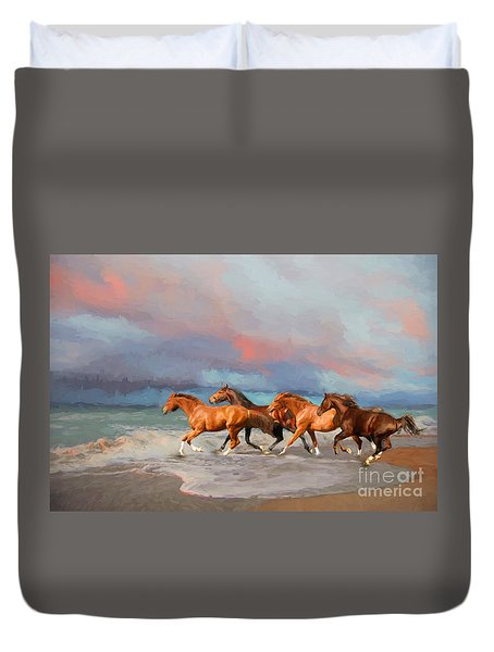 Horses At The Beach Duvet Cover by Mim White