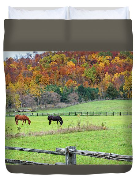 Horses Contentedly Grazing In Fall Pasture Duvet Cover
