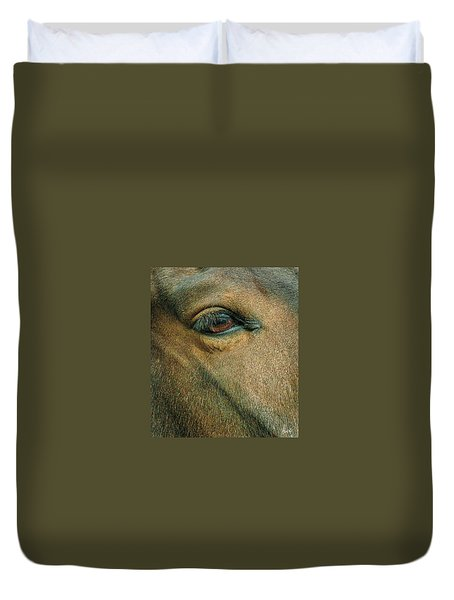 Duvet Cover featuring the photograph Horses Eye by Bruce Carpenter