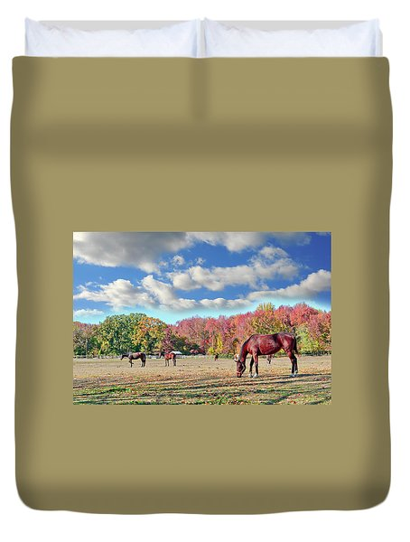Horses Grazing At A Stable In Maryland Duvet Cover