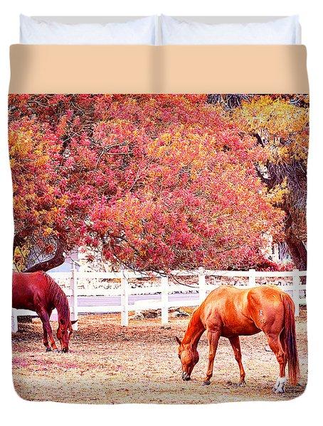 Horses, Grazing Duvet Cover