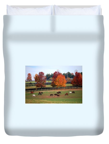 Horses Grazing In The Fall Duvet Cover