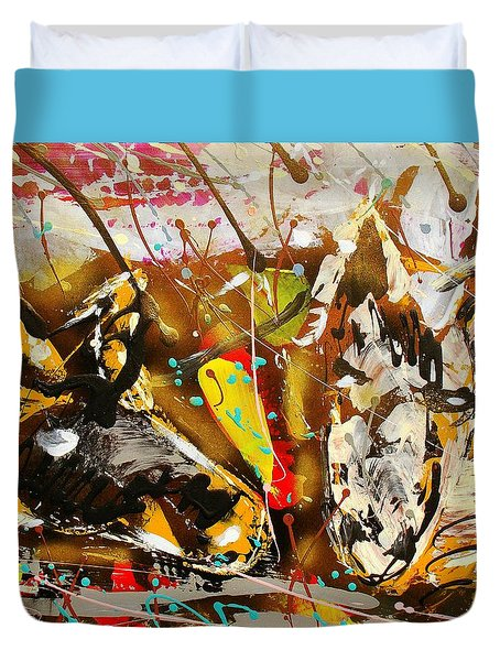 Duvet Cover featuring the painting Horses Huddled A by J R Seymour