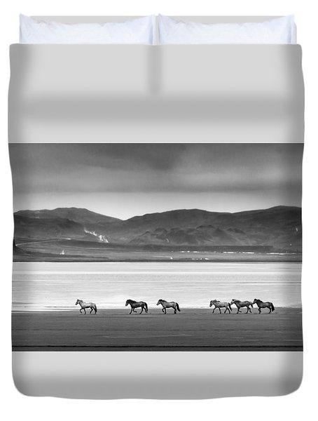 Horses, Iceland Duvet Cover