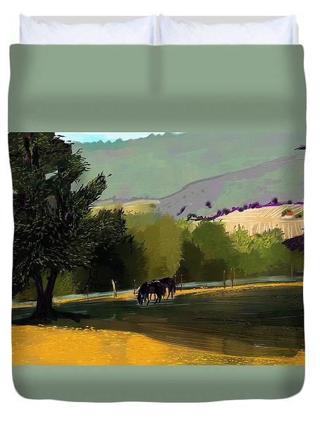 Horses In Field Duvet Cover