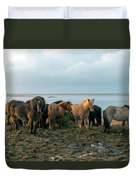 Duvet Cover featuring the photograph Horses In Iceland by Dubi Roman